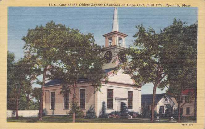Old Baptist Church - Hyannis, Cape Cod, Massachusetts - Linen Card