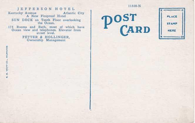 Hotel Jefferson - Atlantic City, New Jersey - White Border