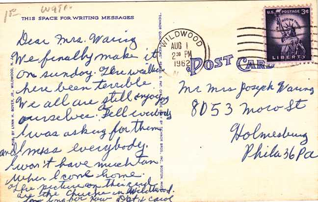 Four Church Views Wildwood by the Sea, New Jersey - pm 1962 - Linen Card