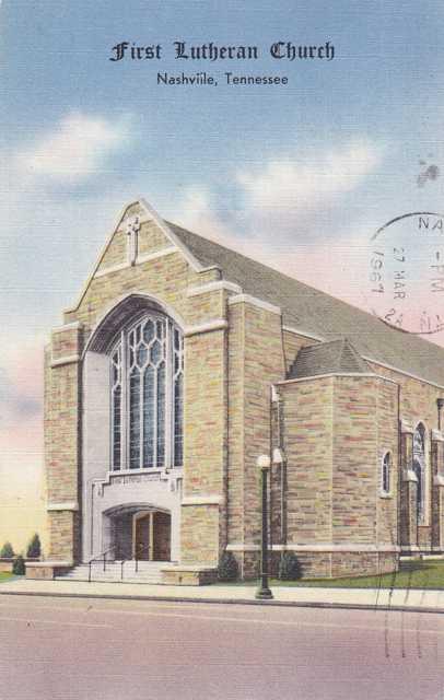 First Lutheran Church - Nashville, Tennessee - pm 1967 - Linen Card