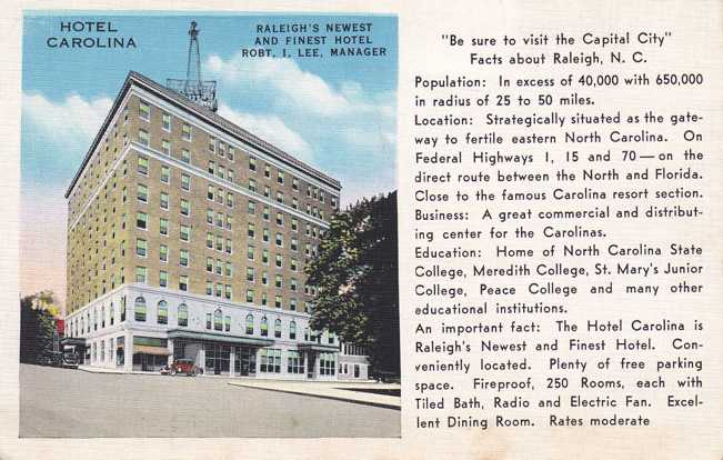 Hotel Carolina - Raleigh, North Carolina - Linen Card