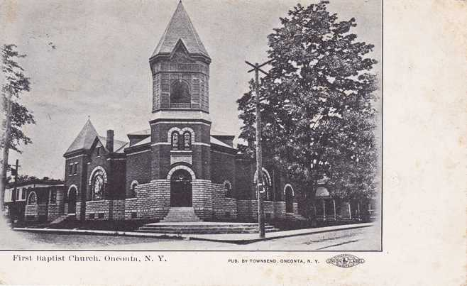 First Baptist Church - Oneonta, New York - pm 1906 - Undivided Back