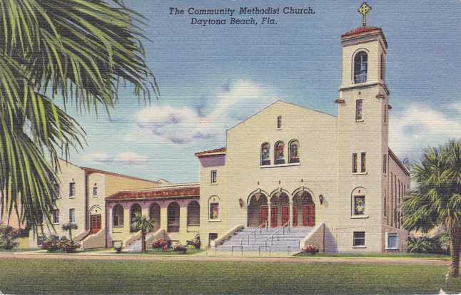 Community Methodist Church - Daytona Beach, Florida - pm 1951 - Linen Card
