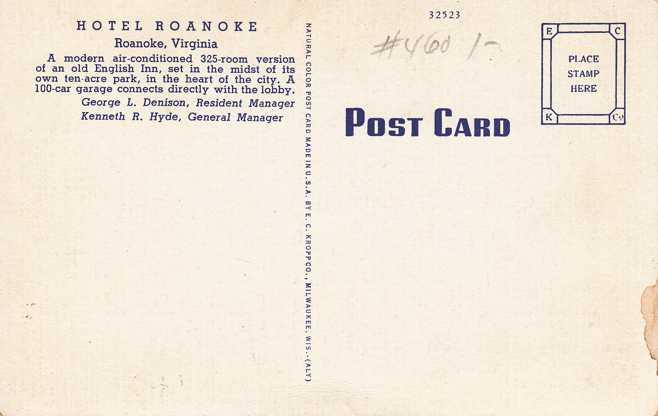 Hotel Roanoke - Roanoke, Virginia - Linen Card