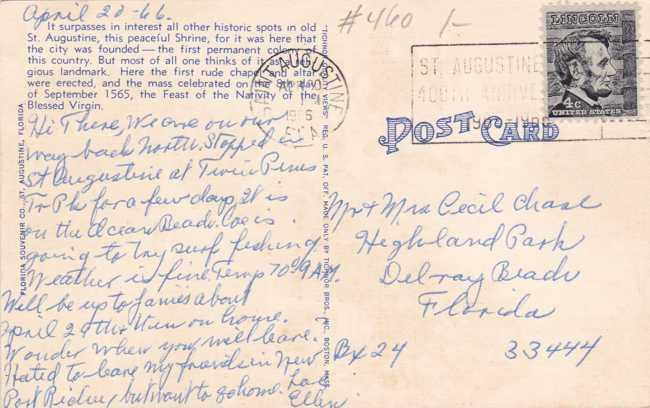 Shrine of Nuestra Senora De La Leche Y Buen Parto - St Augustine, Florida Church - Linen Card