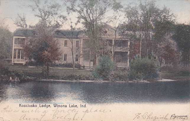 Kosciusko Lodge - Winona Lake, Indiana - pm 1907 - Undivided Back
