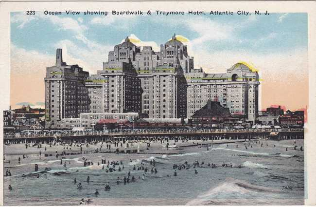 Boardwalk at Traymore Hotel - Atlantic City, New Jersey - White Border