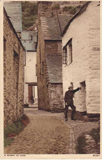 A Byway in Looe, Cornwall, England - pm 1939 - White Border