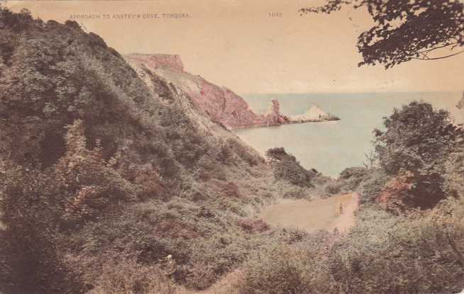 Approach to Anstey's Cove - Torquay, Devon, England - pm 1927 - Divided Back