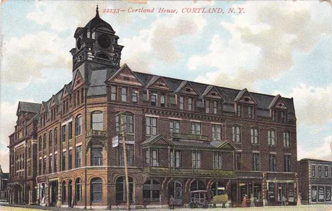 Cortland, New York - The Cortland House Hotel - Divided Back