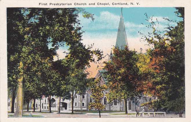 First Presbyterian Church and Chapel - Cortland, New York - White Border
