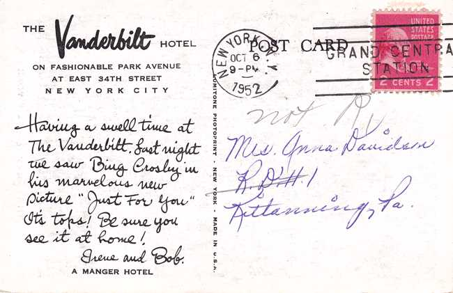 Vanderbilt Hotel on Park Avenue - New York City - pm 1952