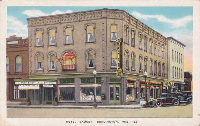 Hotel Badger - Burlington, Wisconsin - White Border