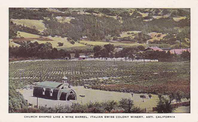 Church Shaped like a Wine Barrel - Asti, California - White Border