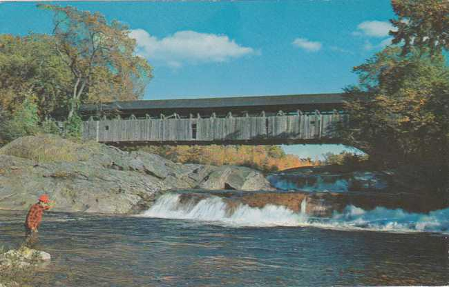 Fishing at Covered Bridge - Swiftwater, New Hampshire