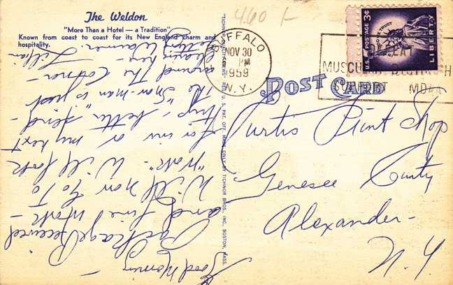 The Weldon Hotel - Greenfield, Massachusetts - pm 1959 - Linen Card