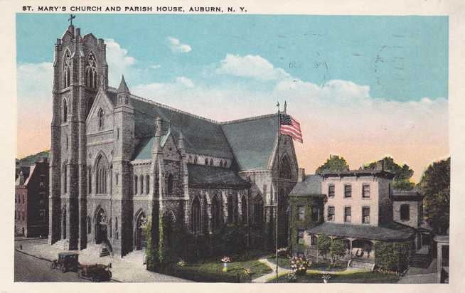St. Mary's Church and Parish House - Auburn, New York - pm 1941 - White Border