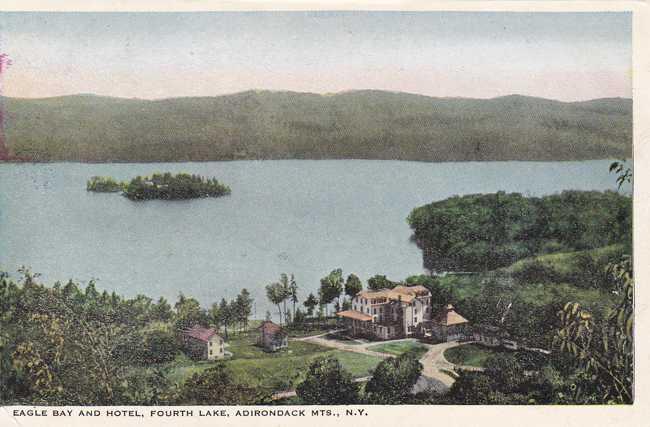Eagle Bay and Hotel - Fourth Lake, Adirondack Mountains, New York - White Border