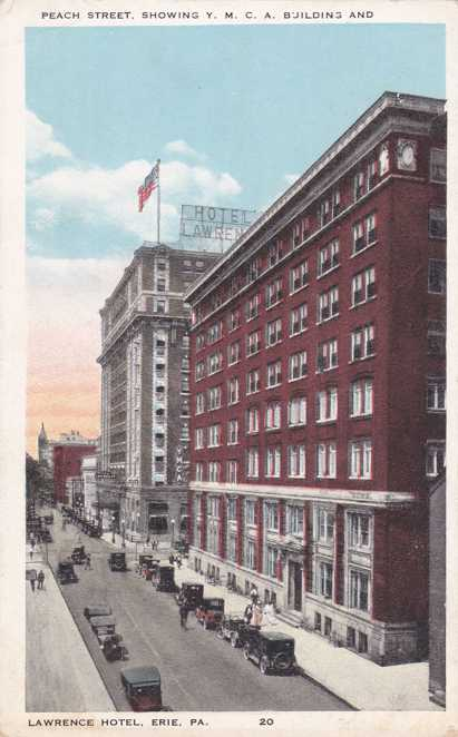 YMCA and Lawrence Hotel - Peach Street, Erie, Pennsylvania - White Border