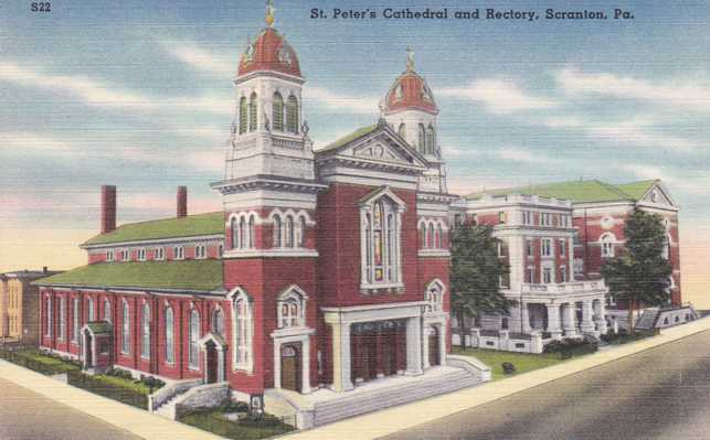St. Peter's Cathedral and Rectory - Scranton, Pennsylvania - Linen Card