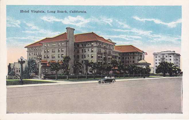 Long Beach, California - Hotel Virginia - White Border