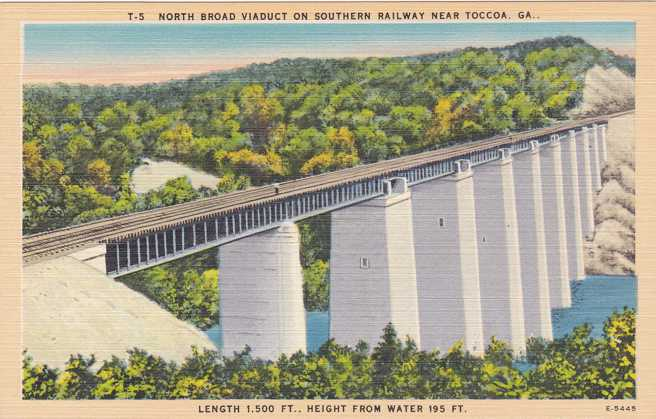Southern Railway Viaduct Bridge - Toccoa, Georgia - Linen Card
