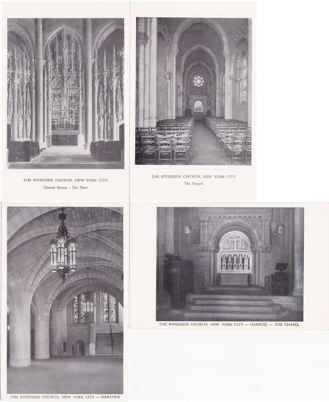 (4 cards) Interior Views - Riverside Church, New York City