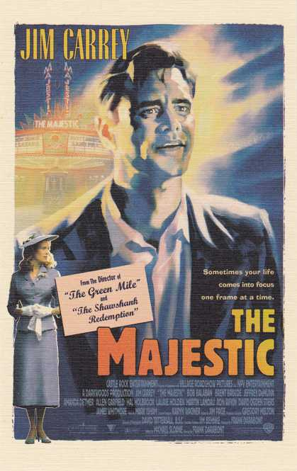 Jim Carrey in The Majestic - Movie Poster on Postcard - Linen Card