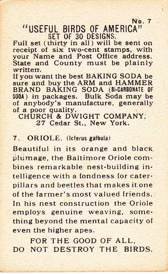 Useful Birds 1915 - Oriole - Arm & Hammer Trade Card