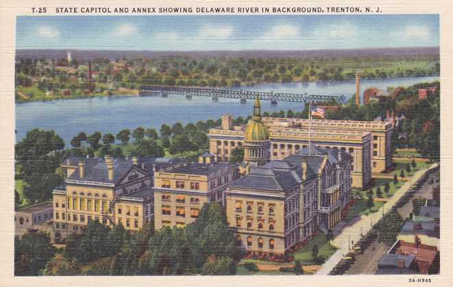 playle 39 s state capitol along delaware river trenton new jersey linen card store item. Black Bedroom Furniture Sets. Home Design Ideas