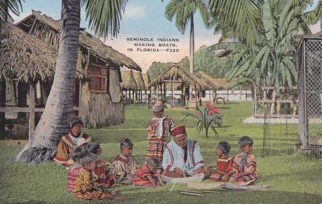 Seminole Indians making Boats in Florida - Linen Card