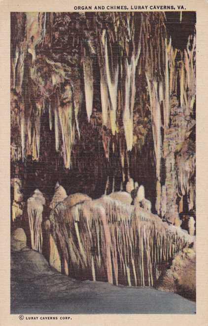 Organ and Chimes - Cave at Luray Caverns, Virginia - Linen Card