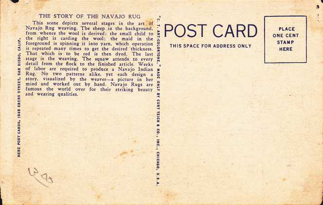 Story of the Navajo Rug - American Indian Craft - Linen Card