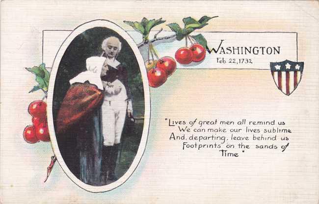 President Washington and Mother - Washington Birthday - Divided Back