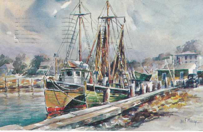 Fishing Boat Seascape - Wartercolor a/s James Murray - pm 1960 at Provincetown