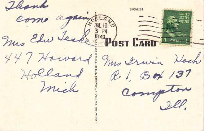 Van Bragt Tulip Farm - Flowers - Holland, Michigan - pm 1949 - Linen Card