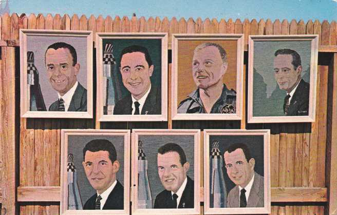 First Seven Astronauts - Portraits in Yarn - Space