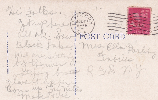 Needles Eye, St Lawrence River - Thousand Islands, Canada - pm 1944 at Clayton - White Border