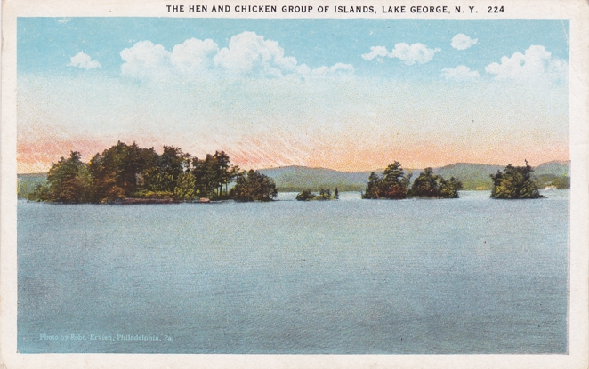 Hen and Chicken Islands - Lake George, Adirondack Mountains, New York - White Border