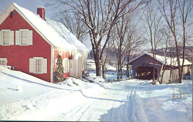 Winter View Bedell Covered Bridge - South Newbury, Vermont