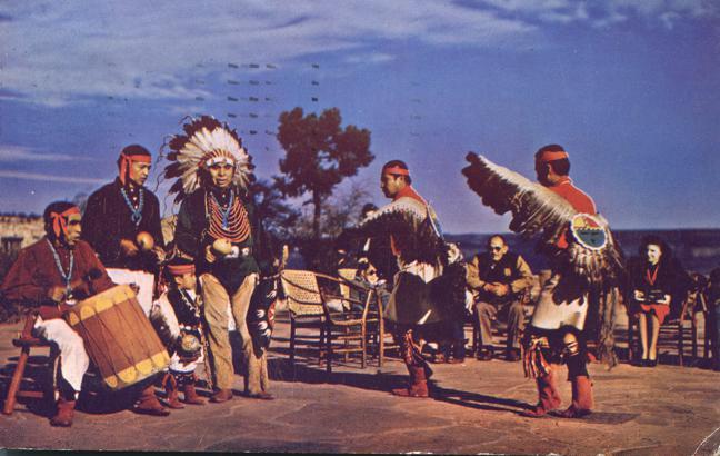 Hopi Indian Dancers at Grand Canyon, Arizona - pm 1951