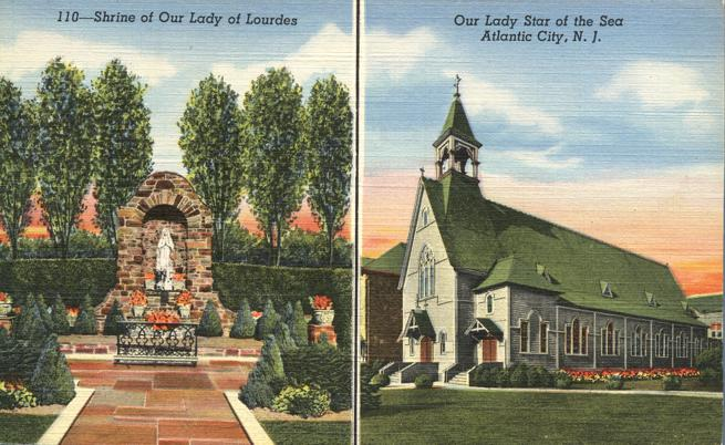 Our Lady of Lourdes Shrine - Our Lady Star of the Sea Church - Atlantic City, New Jersey - Linen Card