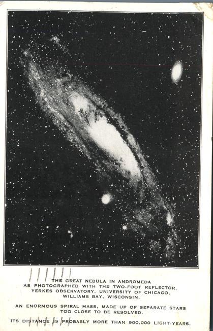 Great Nebula in Andromeda - Yerkes Observatory, Williams Bay, Wisconsin - pm 1933 - White Border