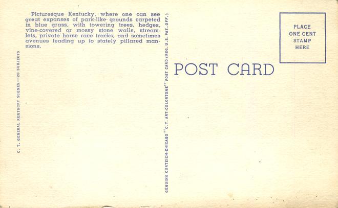 Horses in the Blue Grass State - Kentucky - Linen Card