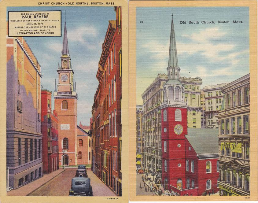 (2 cards) Old North Church and Old South Church - Boston, Massachusetts - pm 1940 - Linen Card