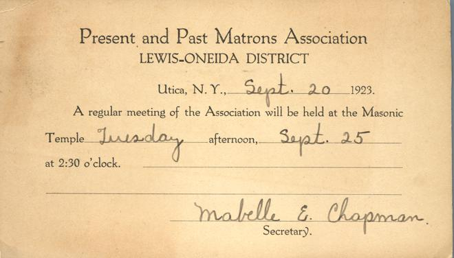 Meeting Announcement - Matrons Association - Masonic Temple, Utica, New York - pm 1923
