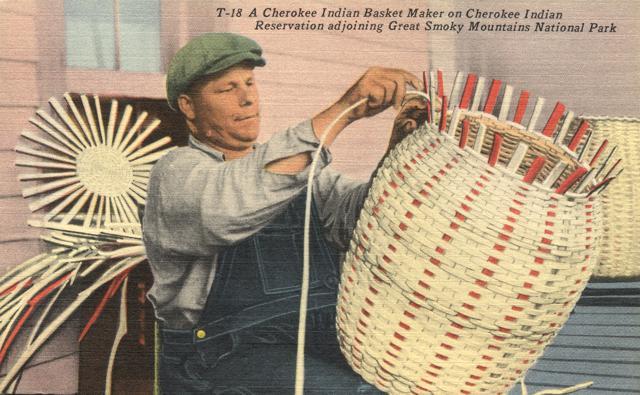 Cherokee Indian Basket Weaver - Qualla Reservation, North Carolina - Linen Card