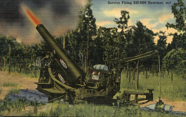 WWII Military - Firing 240-MM Howitzer - DPO 1942 at Camp Stoneman, CA - Linen Card