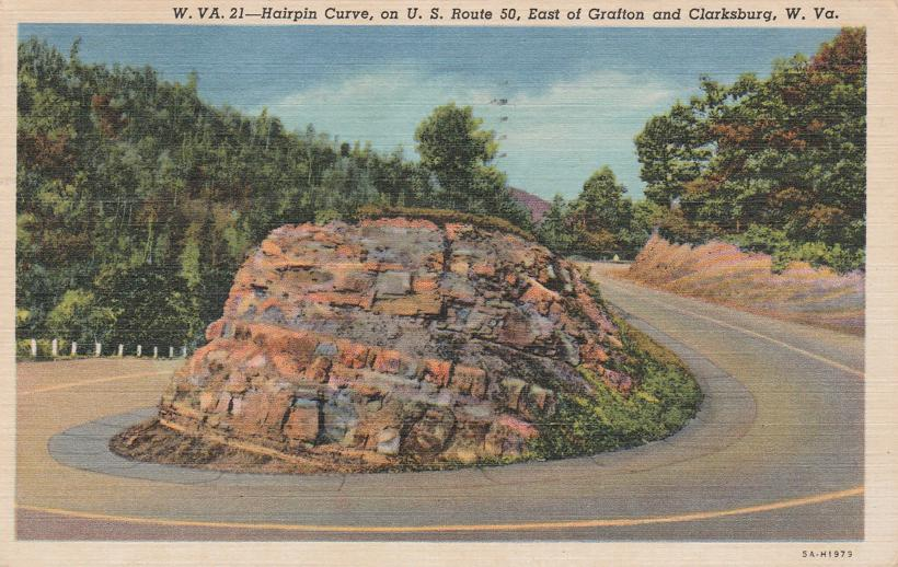 Hairpin Turn on Route 50 near Clarksburg, West Virginia - pm 1957 at Salem - Linen Card