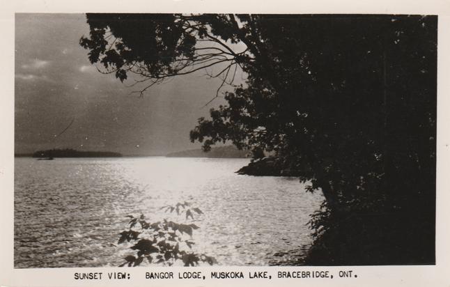 RPPC Sunset View at Bangor Lodge - Muskoka Lake, Bracebridge, Ontario, Canada - pm 1957 - Real Photo
